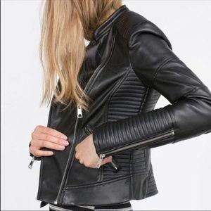 NWT Zara Leather Moto Biker Jacket
